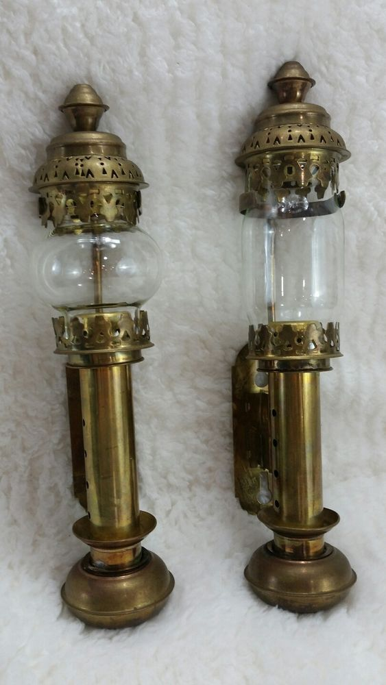 Lot 2 Vintage Railroad Br Spring Loaded Wall Candle Holder Steampunk Sconce