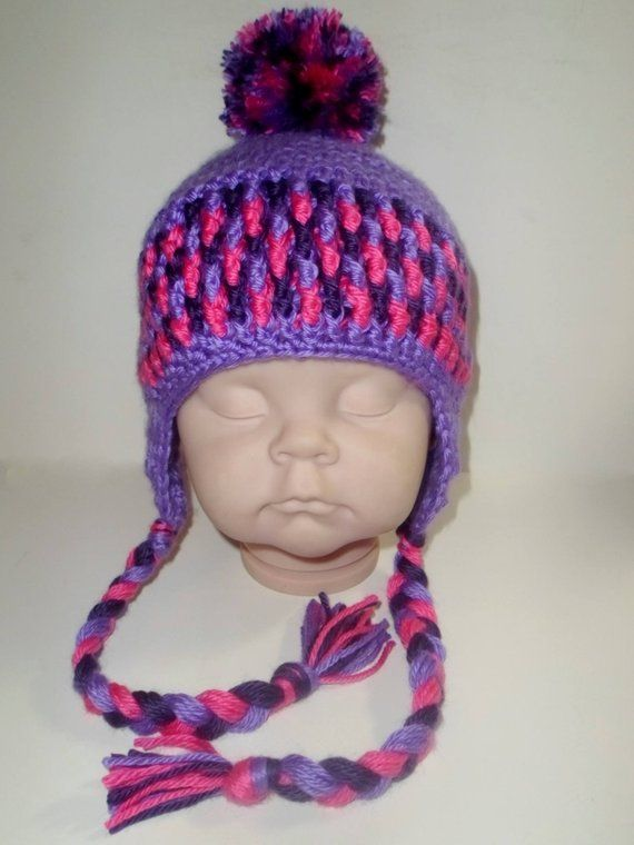 5ab8a746da9 Custom Colored (Toddler-Child) Crochet Pom Pom Winter Hat with Earflaps