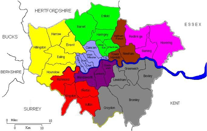 London Map Districts.Map Of The Districts Of London Im From Redbridge But My Family Is
