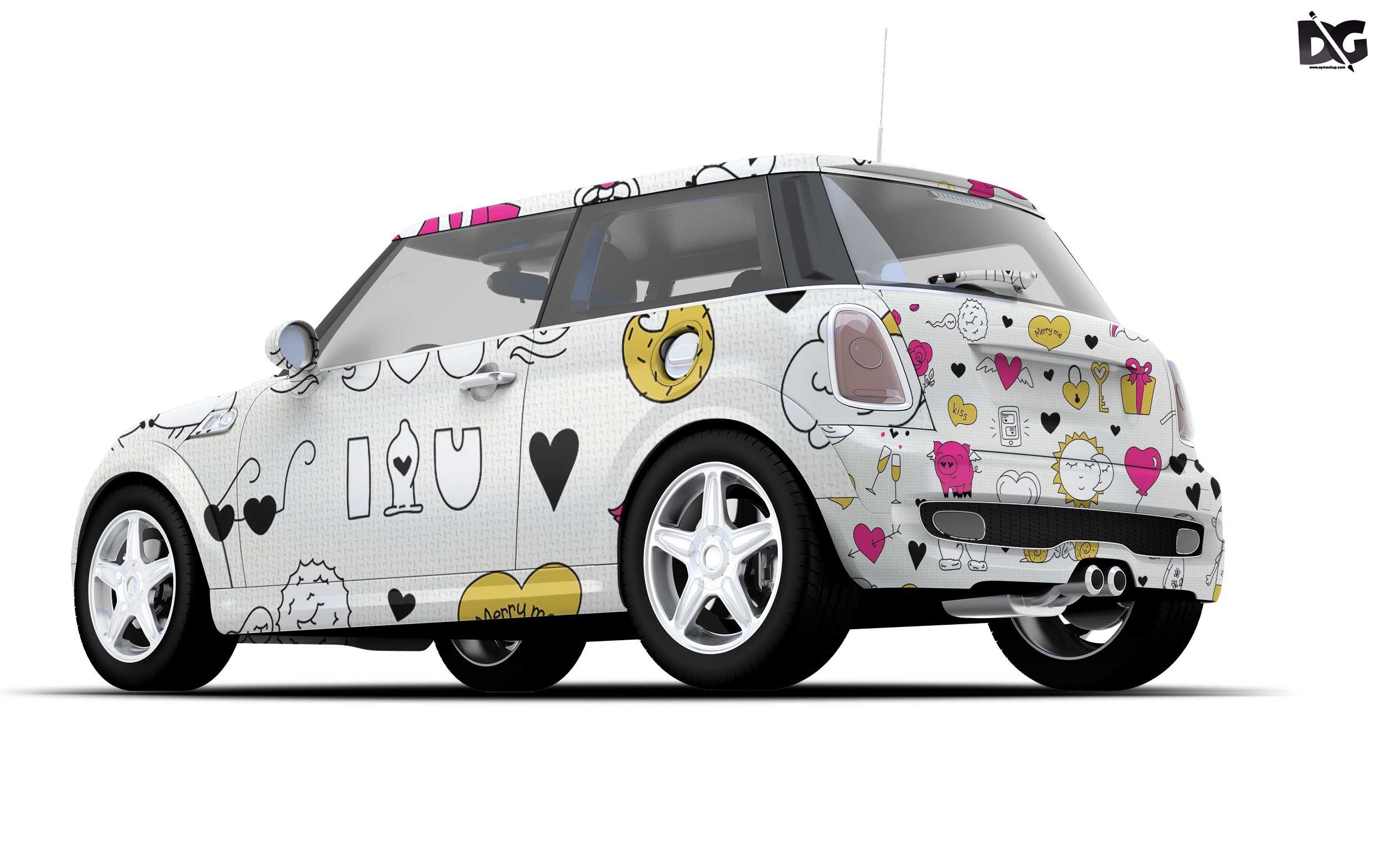 Free Mini Car PSD Body Design Mockup Logo design mockup