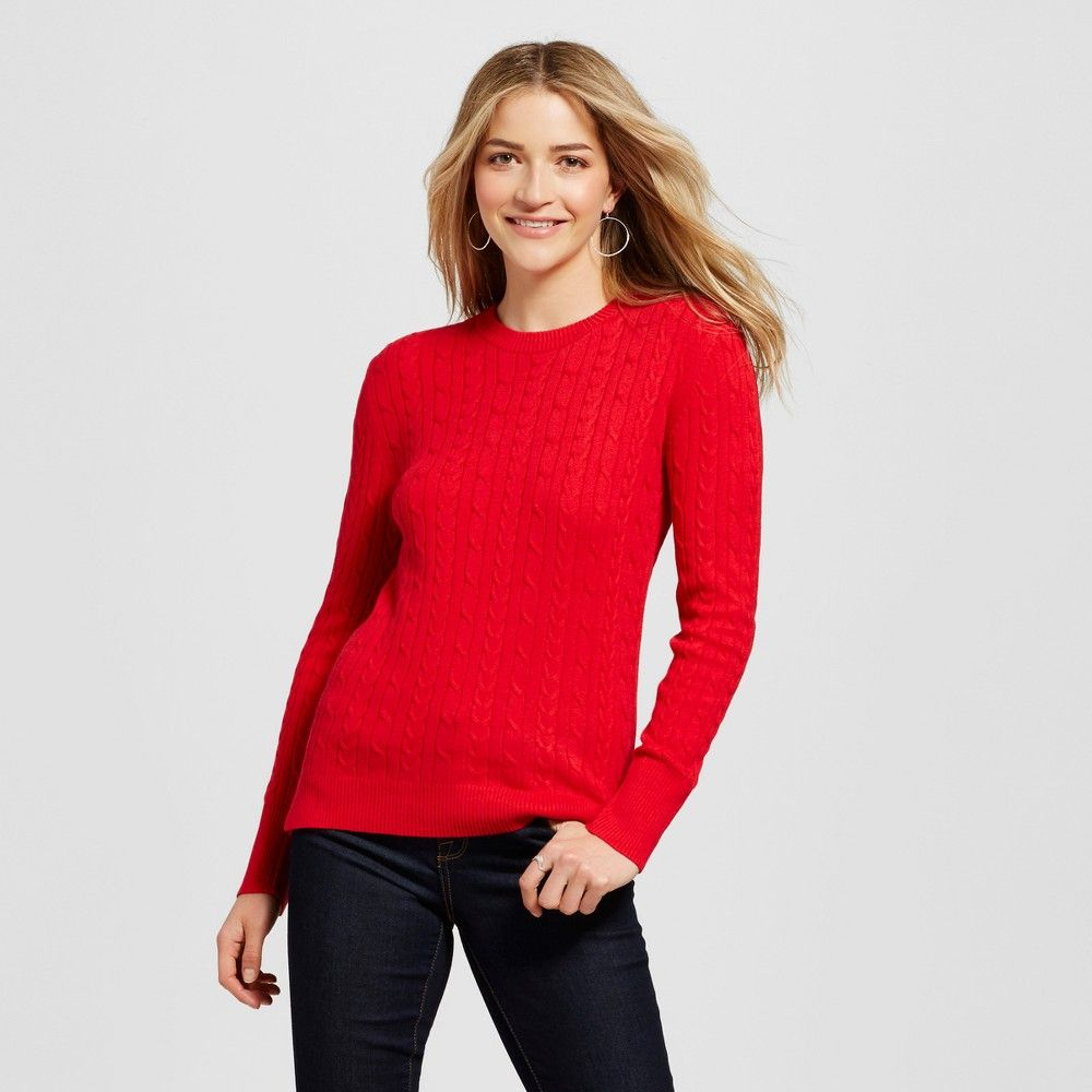 Women's Pullover Sweaters - Merona Red Pop Xxl | Pullover and Products