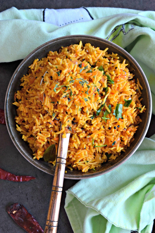 South Indian Style Tomato Rice Recipe Tomato Rice Indian Rice Recipes Indian Food Recipes Vegetarian