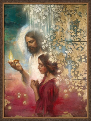 Guiding Light 17x21 framed giclee canvas dark wood frame   Pictures of jesus christ, Pictures of christ, Lds art
