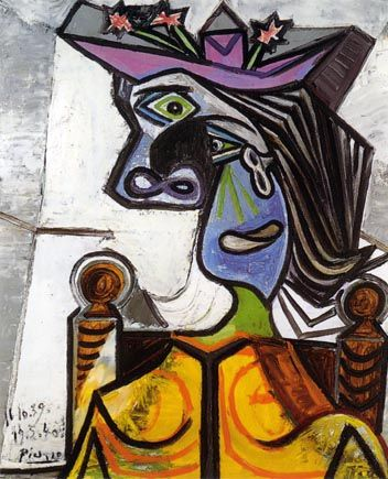 Picasso Woman With Flowered Hat Modernist Collotype Fine Art Print Collotype Prints Picasso Art Picasso Drawing Art