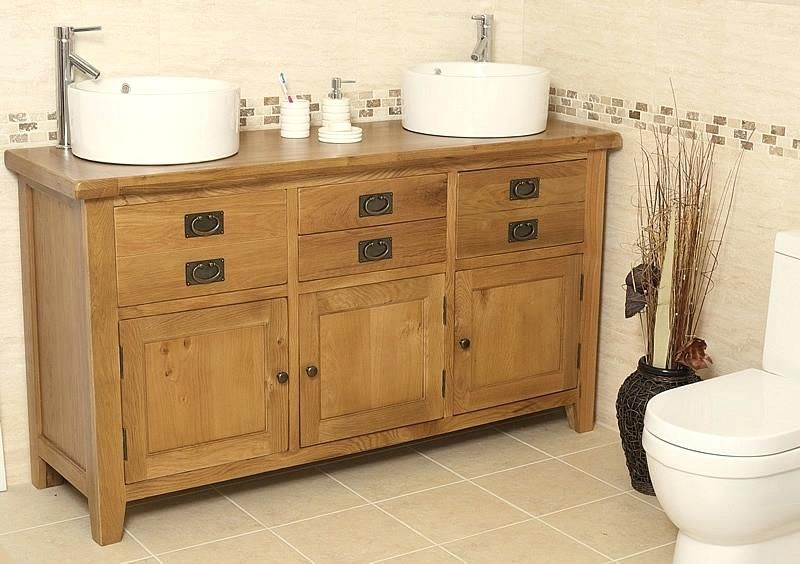 Traditional Oak Double Vanity Unit With Basin Bathroom Valenciadouble Sink Units Twin Uk Bathroom Furniture Uk Bathroom Vanity Units Oak Vanity Unit