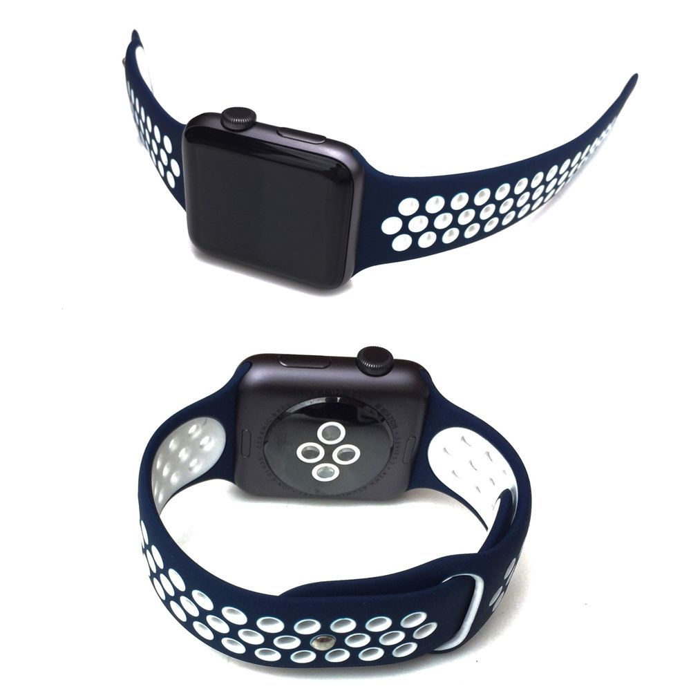 Replacement Silicone Blue & White Nike Sports Strap 42mm