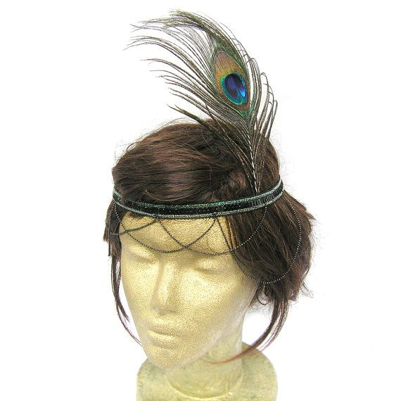 Black Great Gatsby Flapper Headband 1920s Party by curtainroad