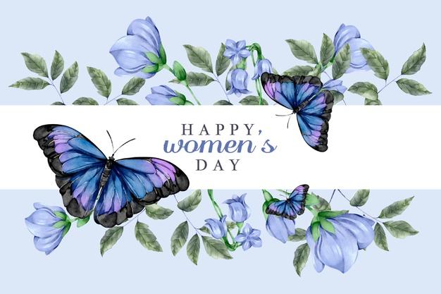 Скачивайте Акварель женский день концепция с бабочками ...