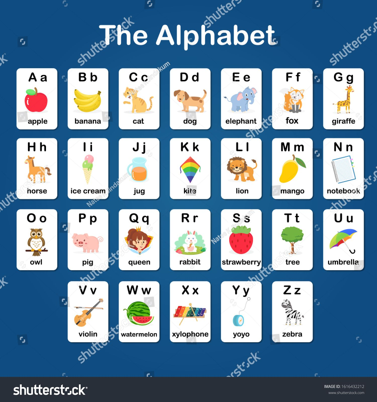 English vocabulary and alphabet flash card vector for kids to help learning and education in kindergarten children. Words of letter abc to z ,each card isolated on blue background. #Ad , #Affiliate, #vector#card#learning#kids
