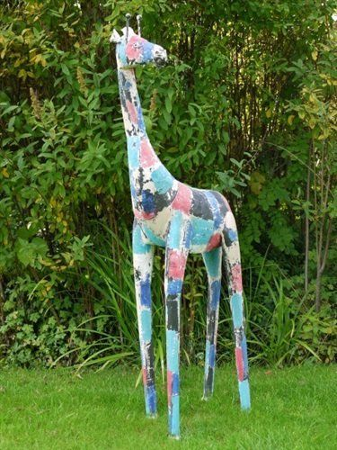 Good Multi Coloured Large Metal Giraffe. An Eye Catching Garden Ornament.
