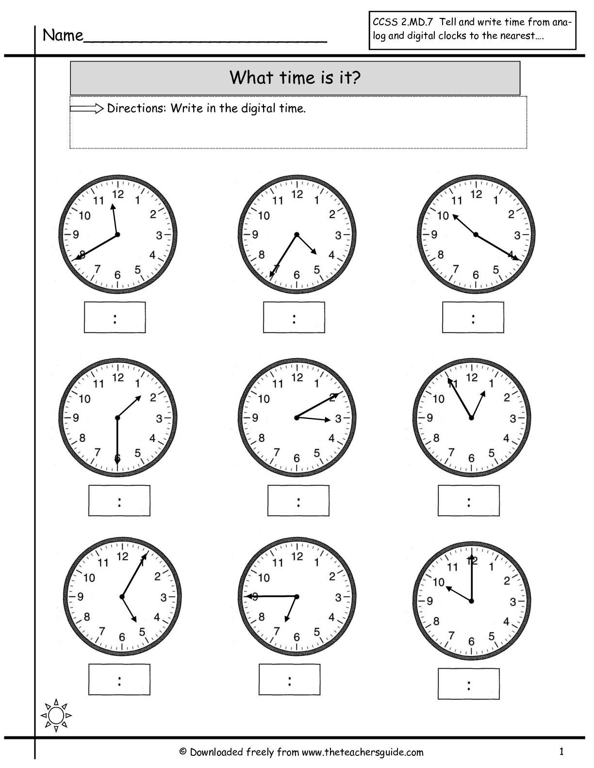 Free Printable Math Worksheets For Telling Time 15 In
