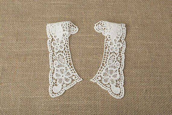 One pair ( two pieces) Lace Collar, Lace Trim Collar, Lace Collar Applique,Crochet Lace Trim, Vintage Lace Collar ,DIY Lace,MaS-JL12