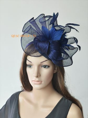 Navy blue Big Sinamay fascinator hat with feather flower  fc638dbc5d8