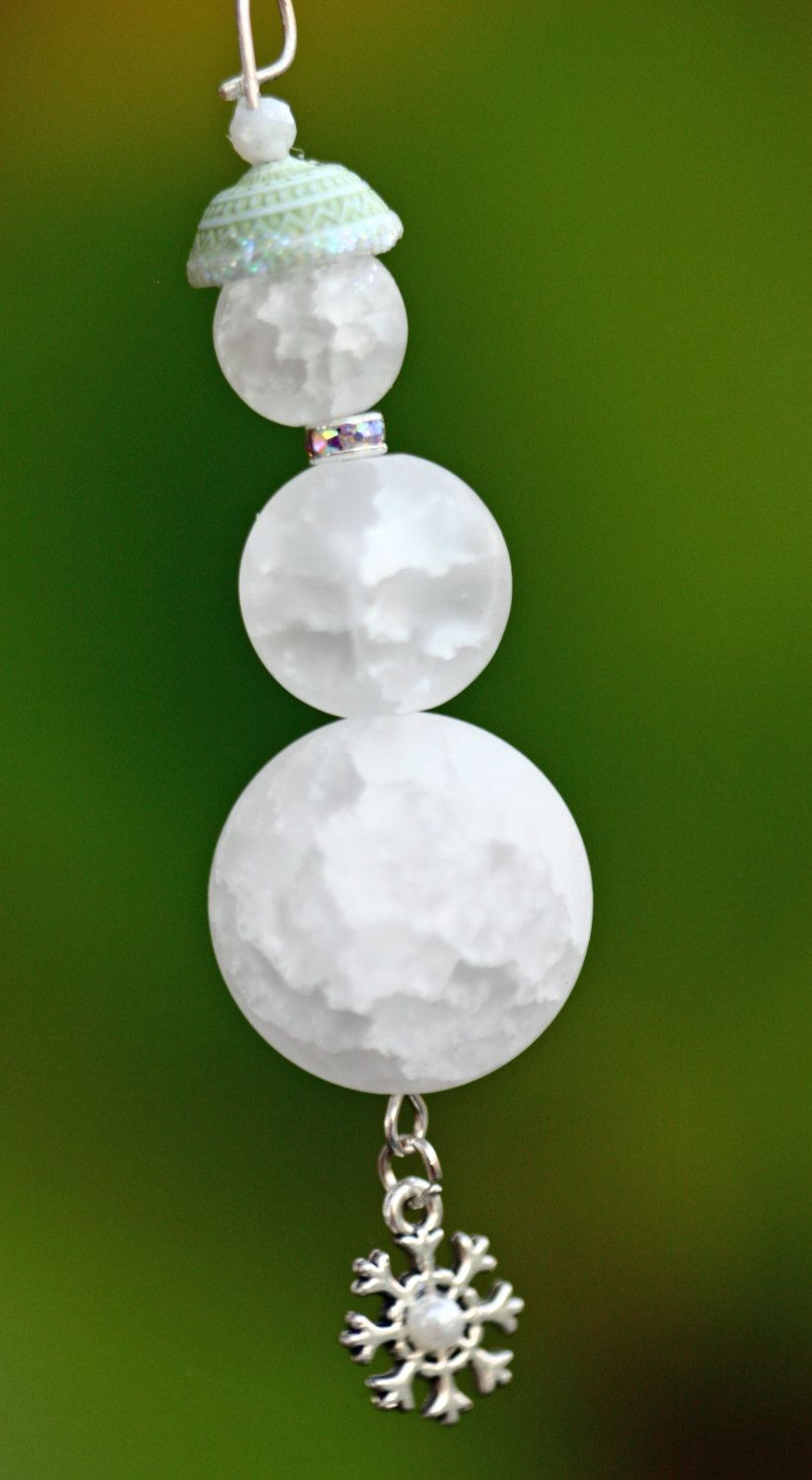 Snowman Beaded Christmas Ornament Package Decoration Round Etsy Beaded Christmas Ornaments Glass Beads Christmas Ornaments