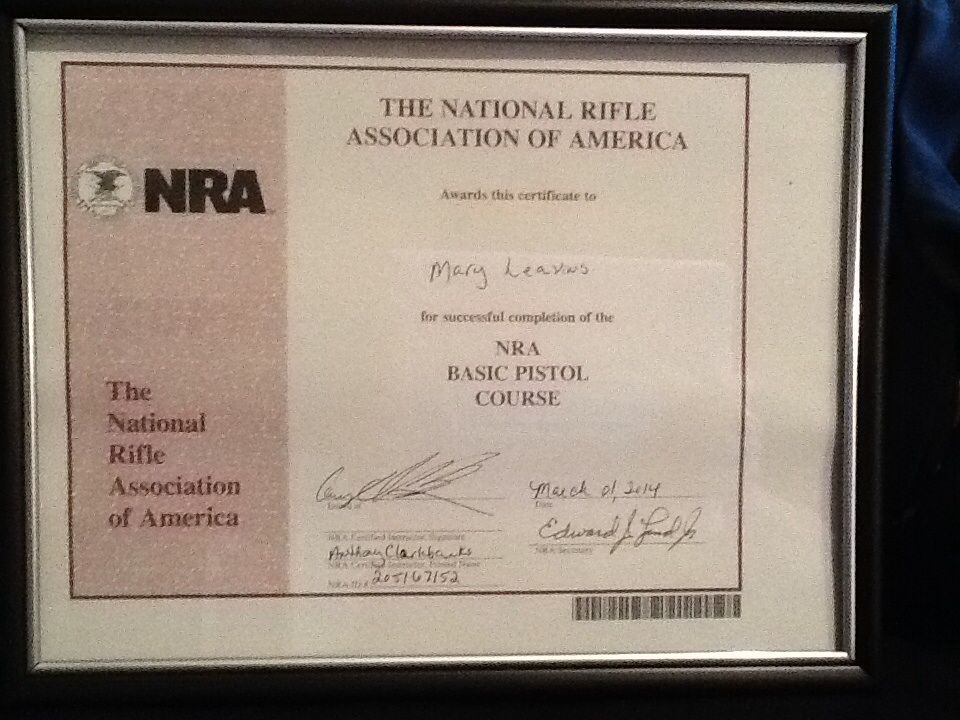 My Nra Certification In Basic Pistol Training Feeling Accomplished