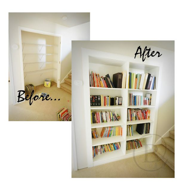 Great Before And Afterturning A Closet Into Bookshelf I Like The Two Columned Book Shelf