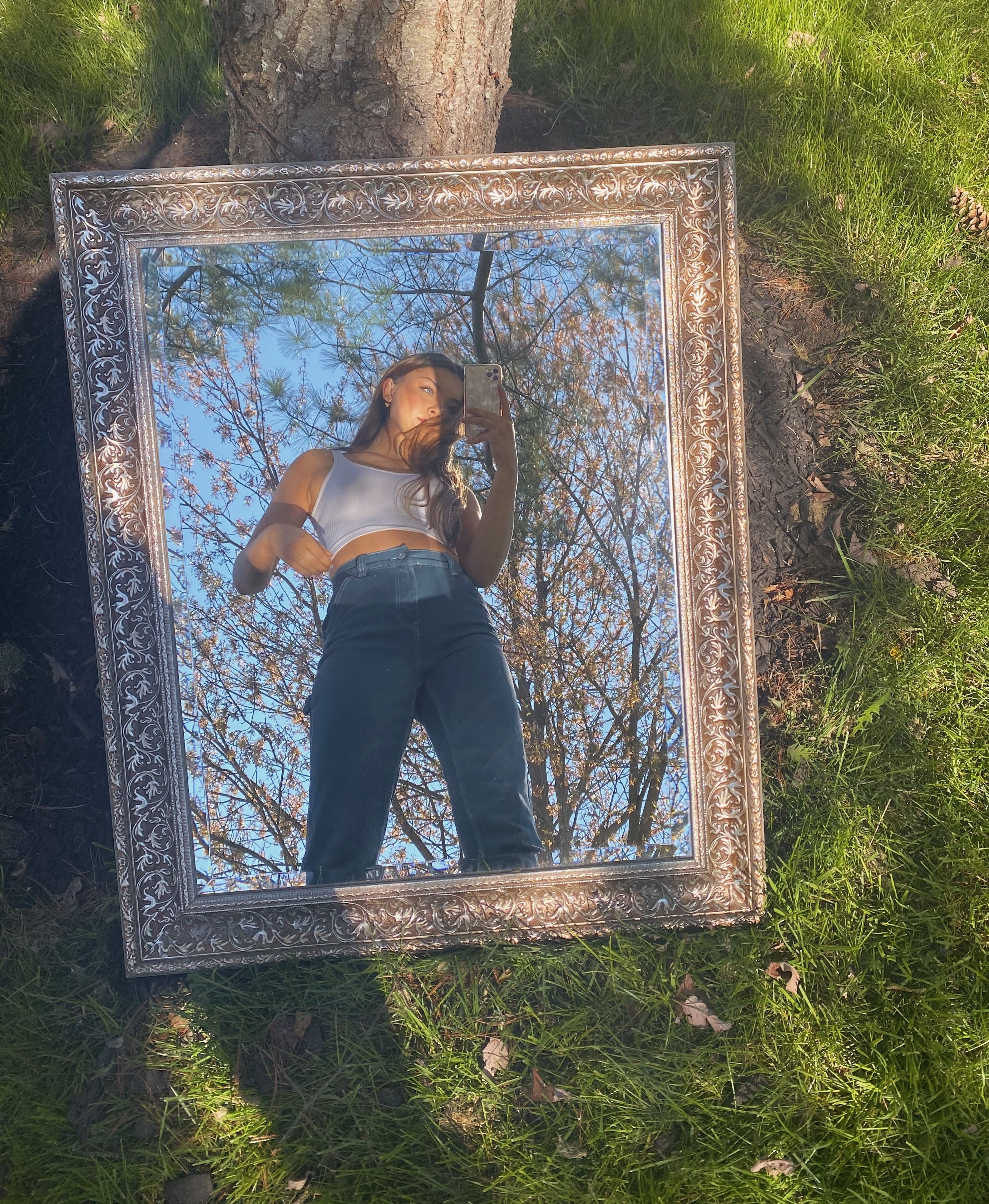 Outdoor Mirror Picture Fotografia Criativa Poses De Fotos Menina Ideias Fotografia