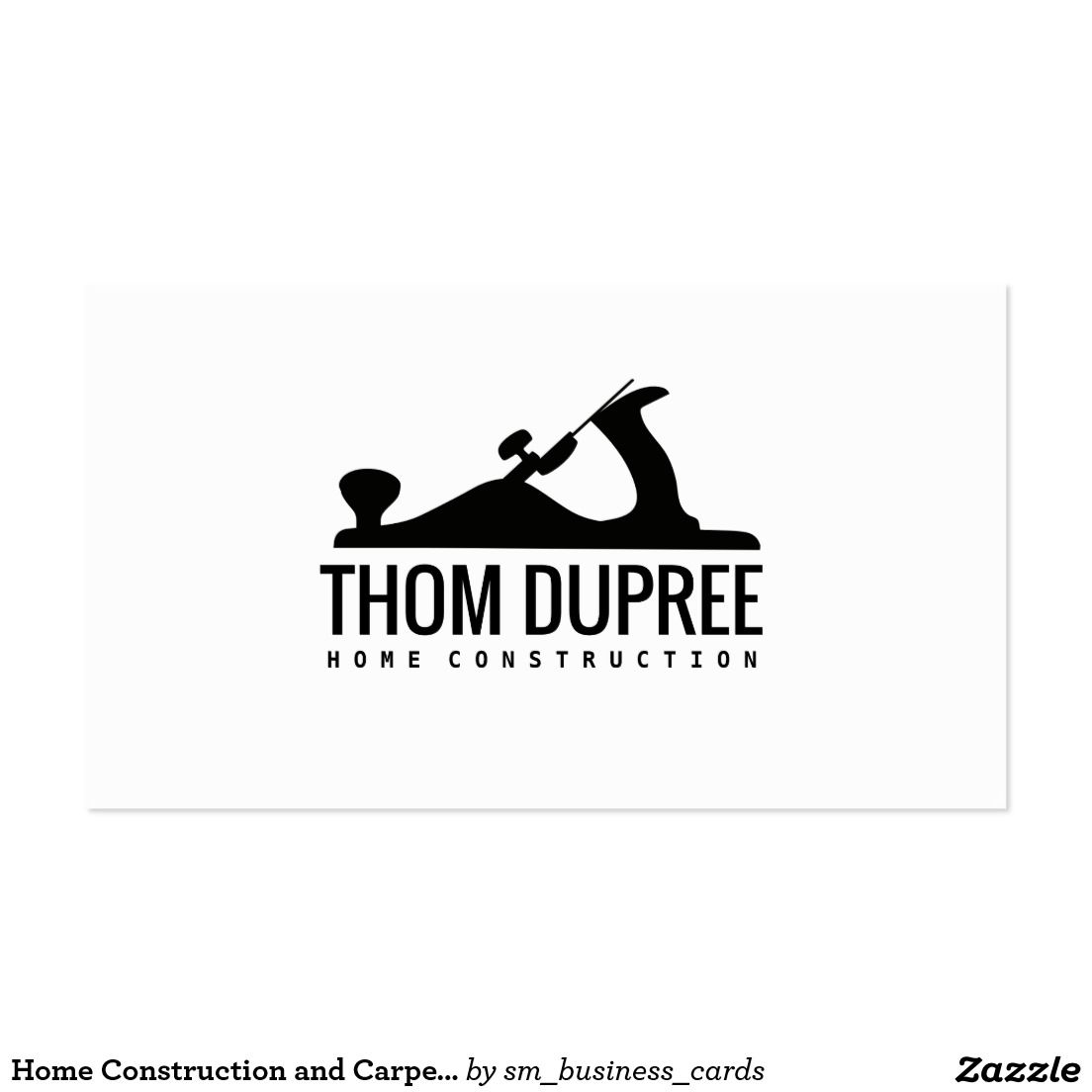 Home Construction and Carpentry Wood Plane Logo Business Card ...