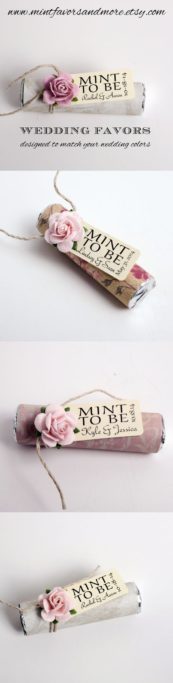 Blush pink wedding favors. Mint candies with a personalized tag ...