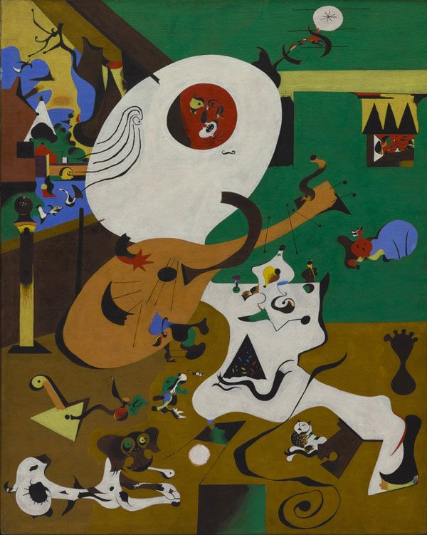 """Joan Miró. Dutch Interior (I), 1928. Oil on canvas, 36-1/8 x 28-3/4"""", The Museum of Modern Art, New York, Mrs. Simon Guggenheim Fund, Photograph credit: The Museum of Modern Art, New York, Department of Imaging Services. © 2008 Successió Miró / Artists Rights Society (ARS), New York / ADAGP, Paris."""