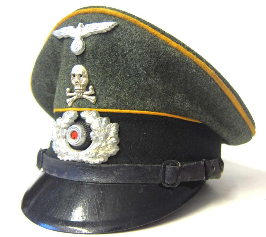 0ec9d1d54 WW2 German Army Cavalry NCO Visor Cap EREL Maker - Aged - Reproine ...
