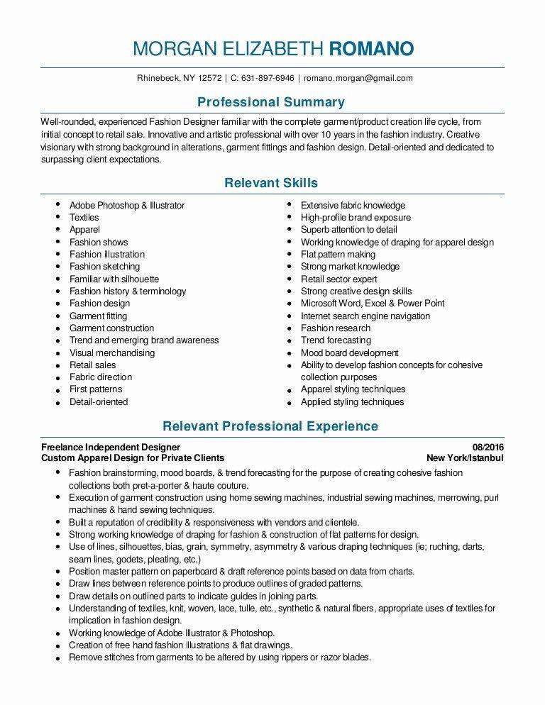 Fashion Designer Resume Sample Unique Fashion Design And Merchandising Resume 2016 Pdf Fashion Designer Resume Resume Design Sample Resume