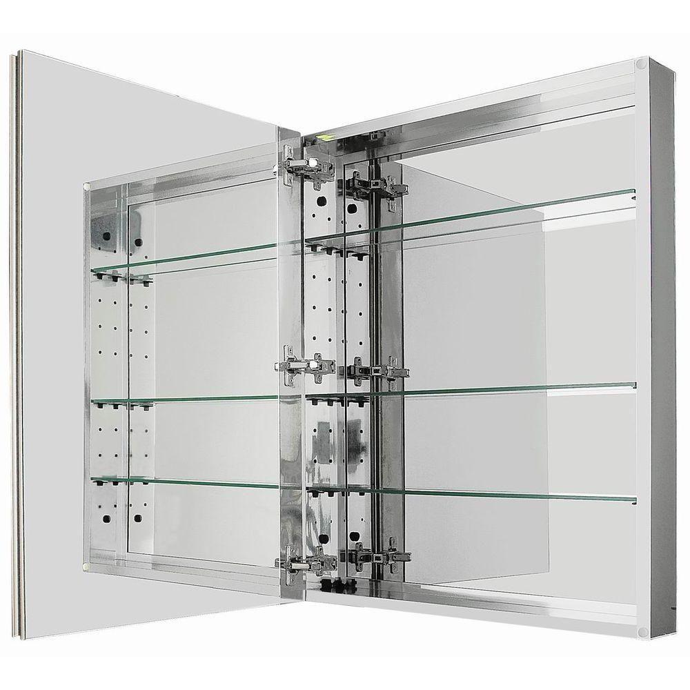 Glacier Bay 24 In. W X 29 1/8 In. H Framed Recessed Or Surface Mount  Bathroom Medicine Cabinet In Brushed Nickel