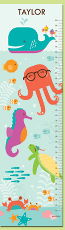 Under The Sea, Teal Personalized Growth Chart by Petite Lemon #designanursery @petitelemon