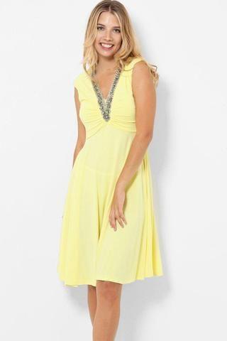 Embellished Neckline Slinky Yellow Skater Dress