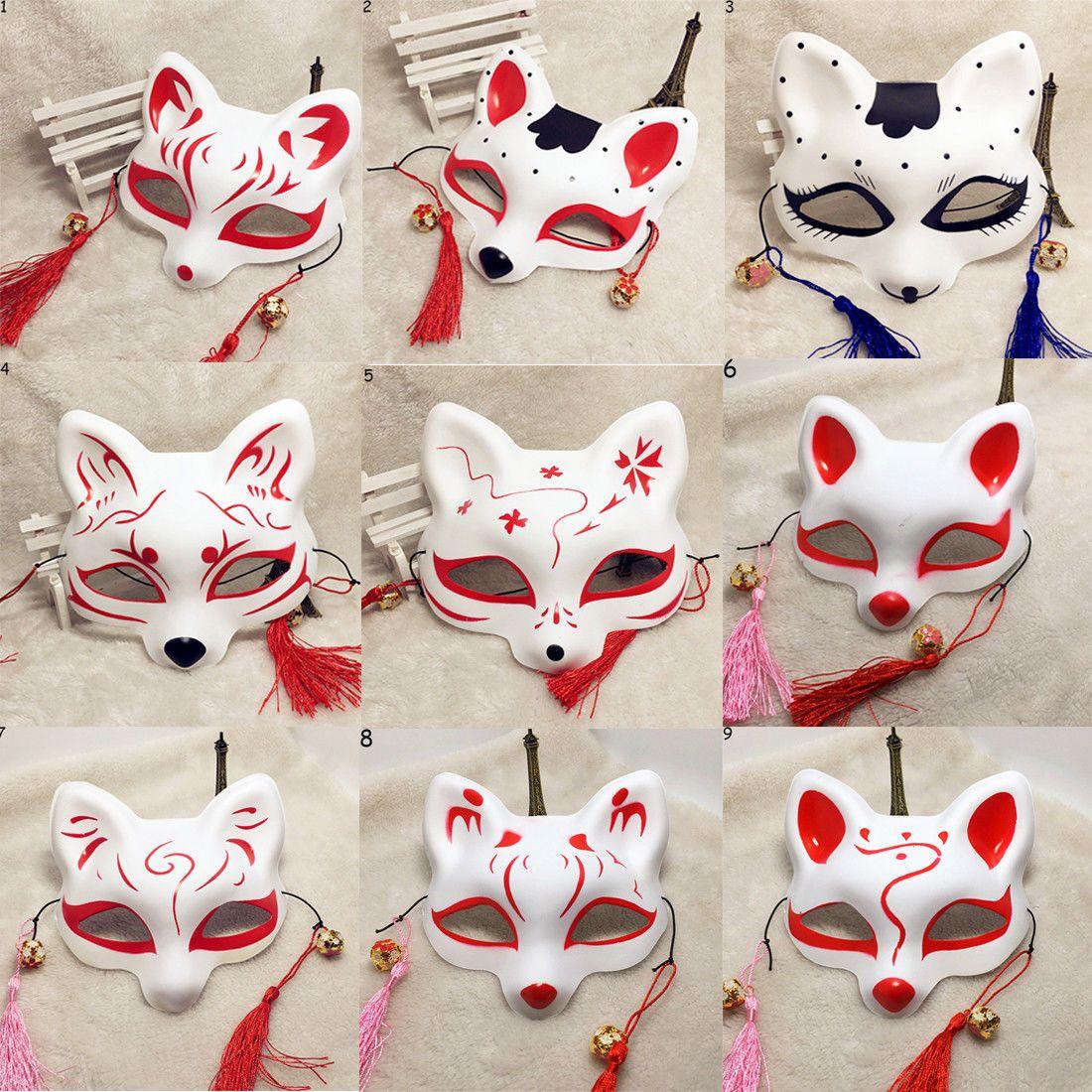 Japanese anime half face fox masks handpainted kitsune