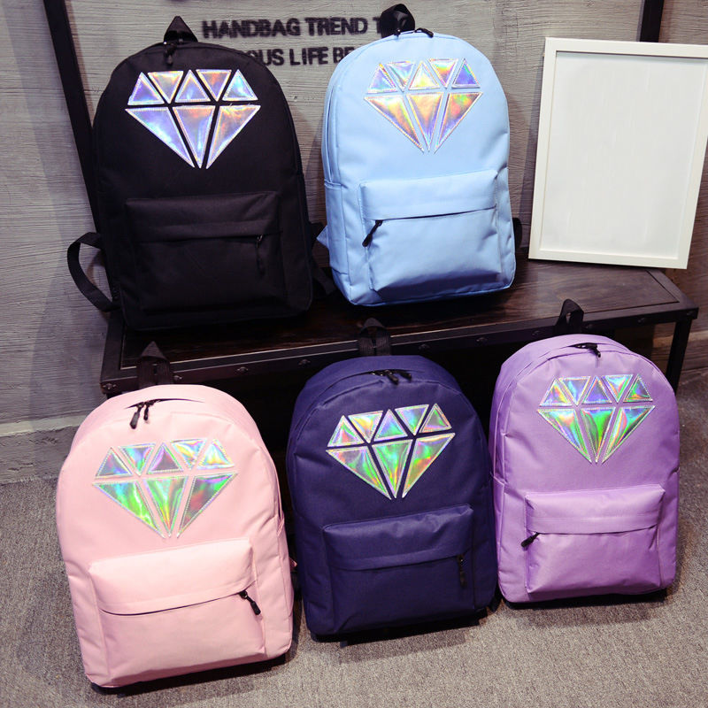 f4df595cce Women Diamond Print Canvas Travel Satchel Shoulder Bag Backpack School  Rucksack