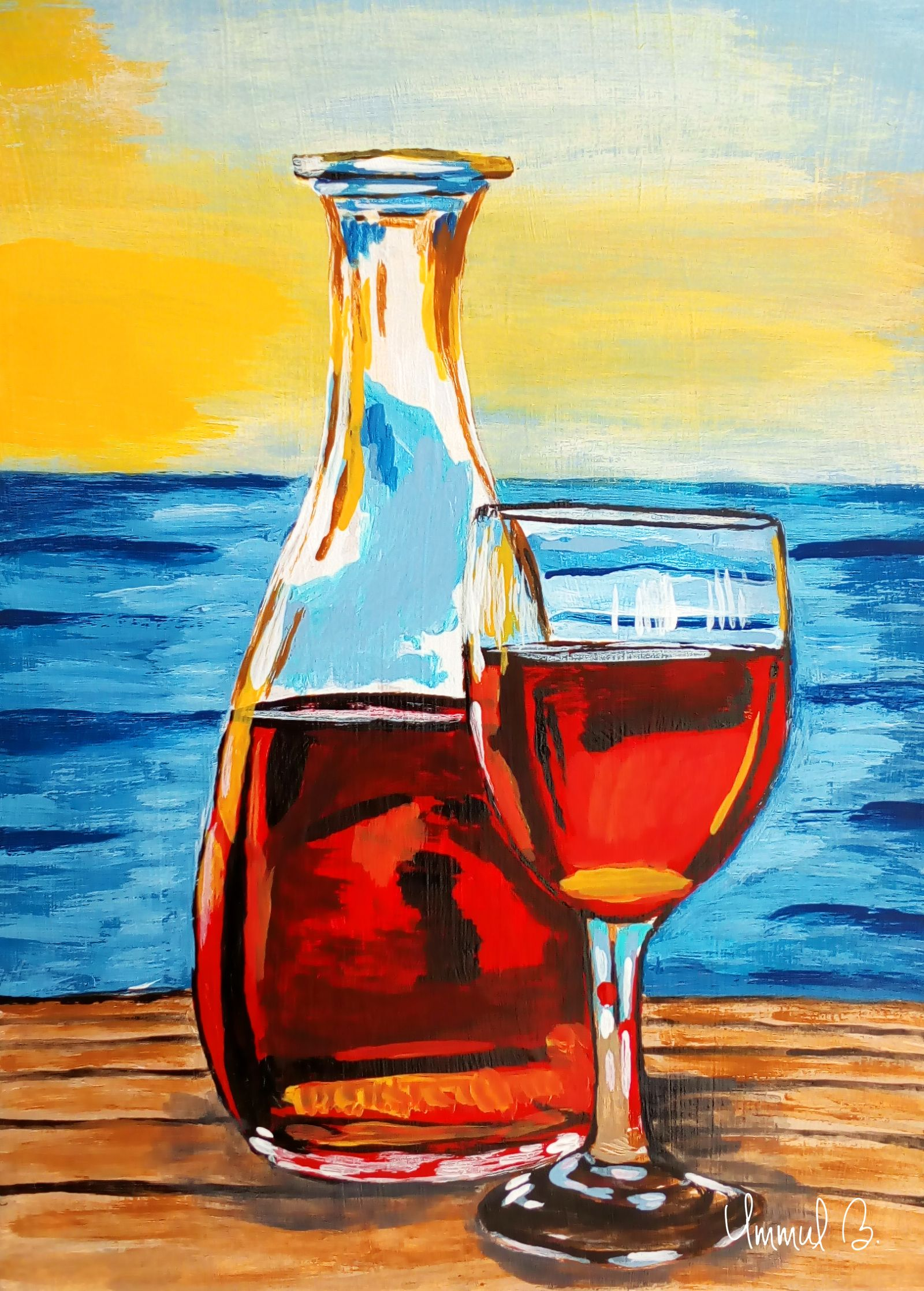Wine Bottle And Glass By Ummul Bashar Mansura Wine Glass Art Wine Glass Designs Bottle Painting