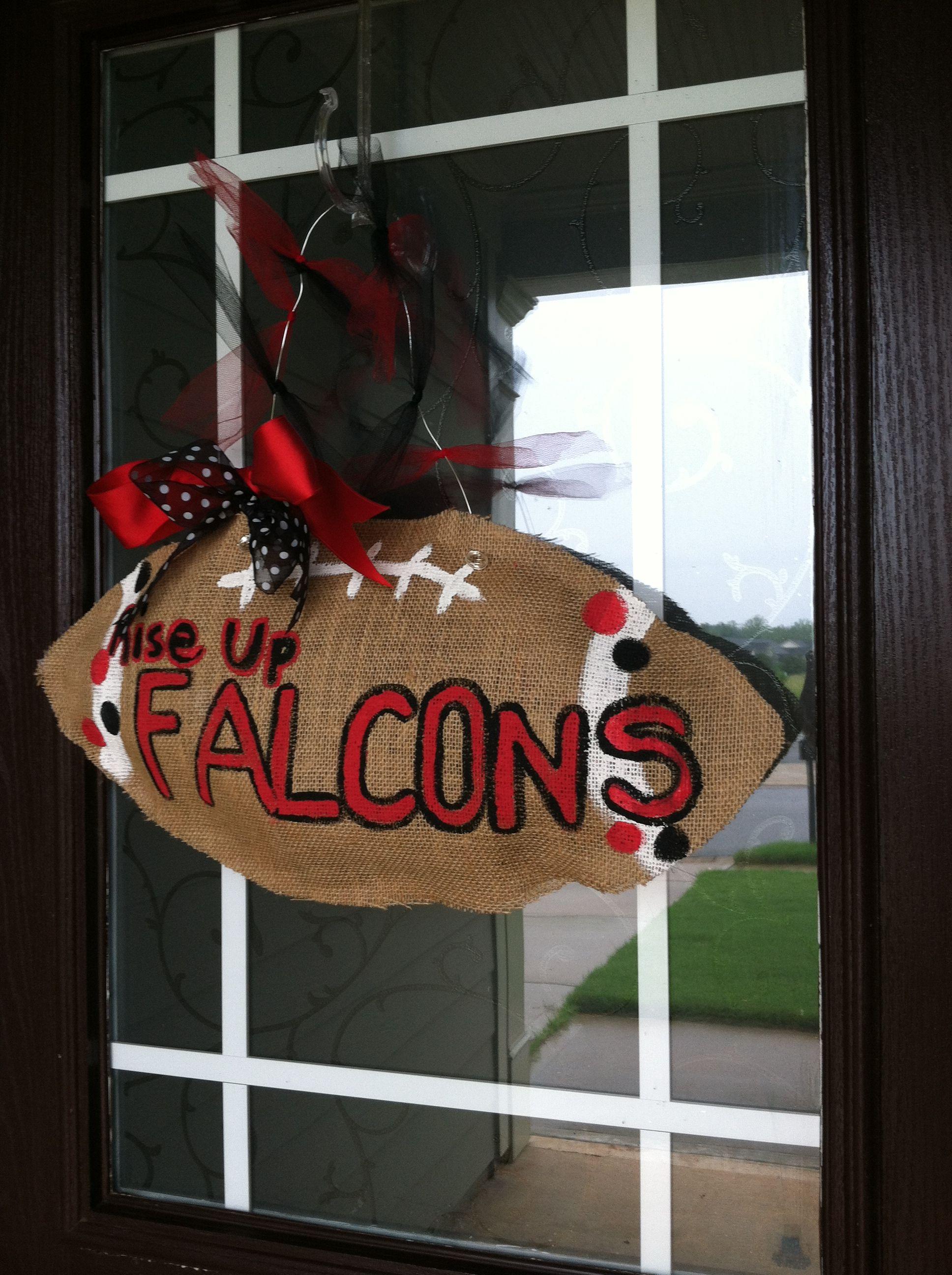 Burlap Football Door Hanger Atlanta Falcons Rise Up Diy