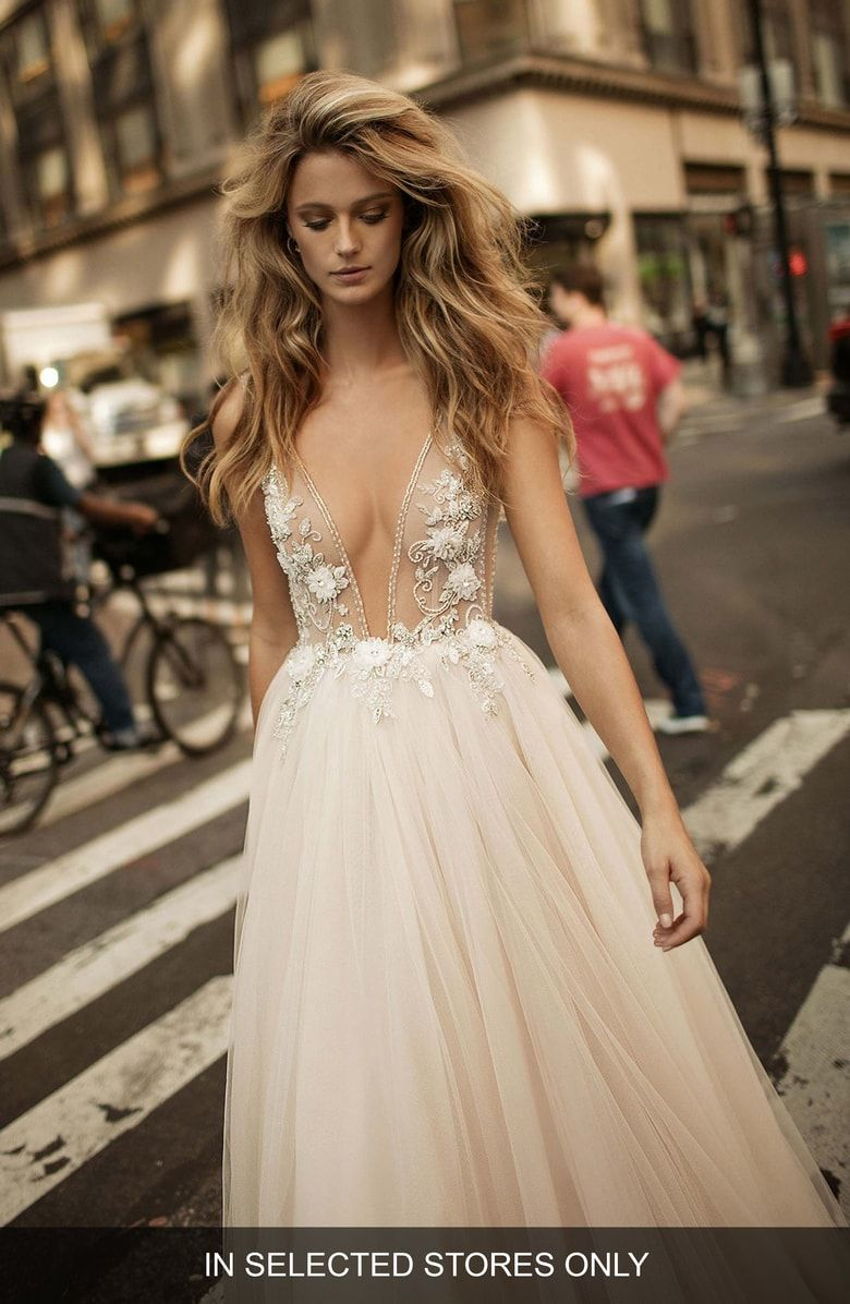 Berta Embellished Plunging VNeck Tulle Gown (With images