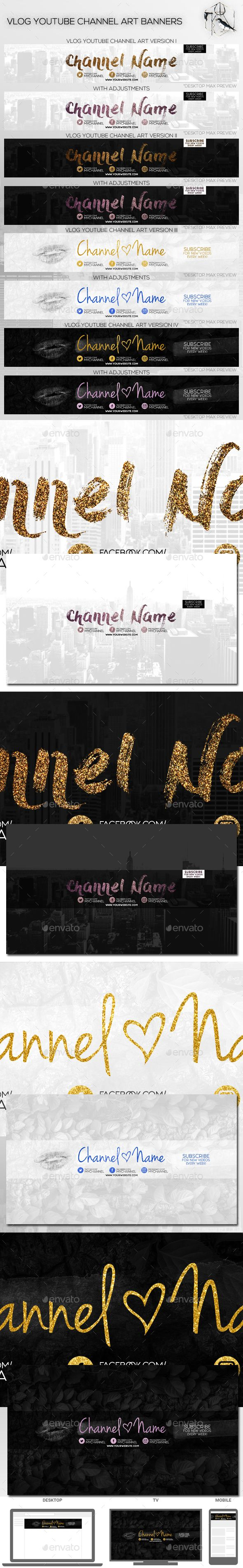 4 Vlog Youtube Channel Art Banners
