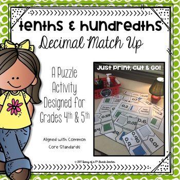 Tenths Hundredths Decimal Match Up Standard Form Activities And