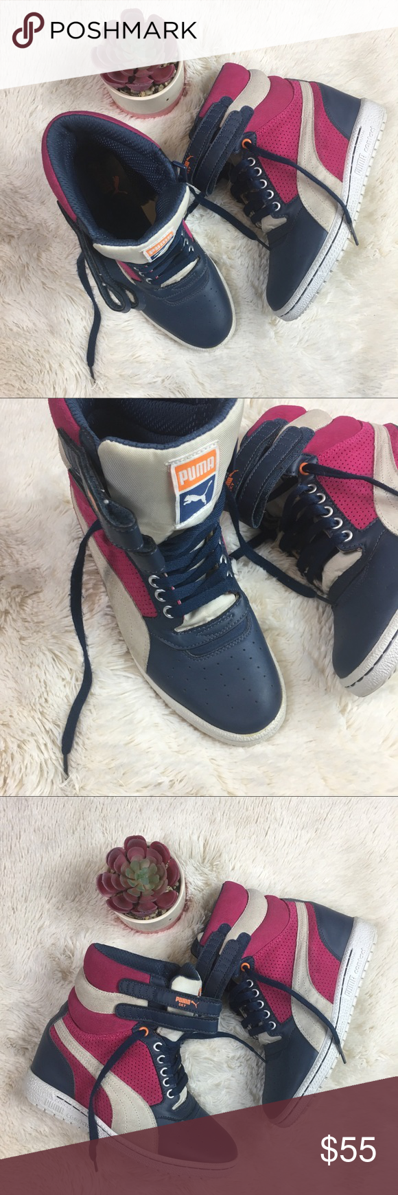 4a0c7b61f7dd Puma Sky High Top Wedge Sneakers 7 Gorgeous preowned hightop Sneakers.  Perfect year round.