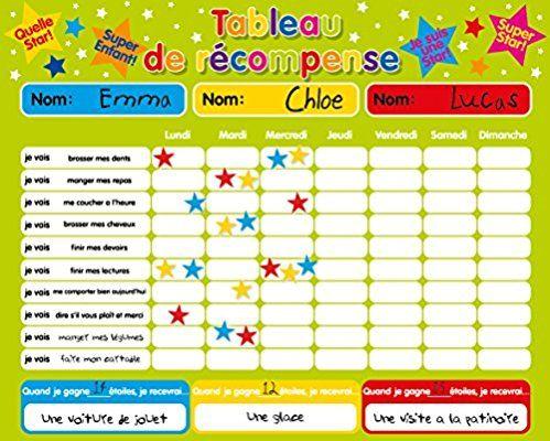 """Récompense magnétique / Star / Tableau des responsabilités / de comportement pour jusqu'à 3 enfants. Planche rigide de 16 """"x 13"""" (40 x 32cm) avec boucle de suspension"""
