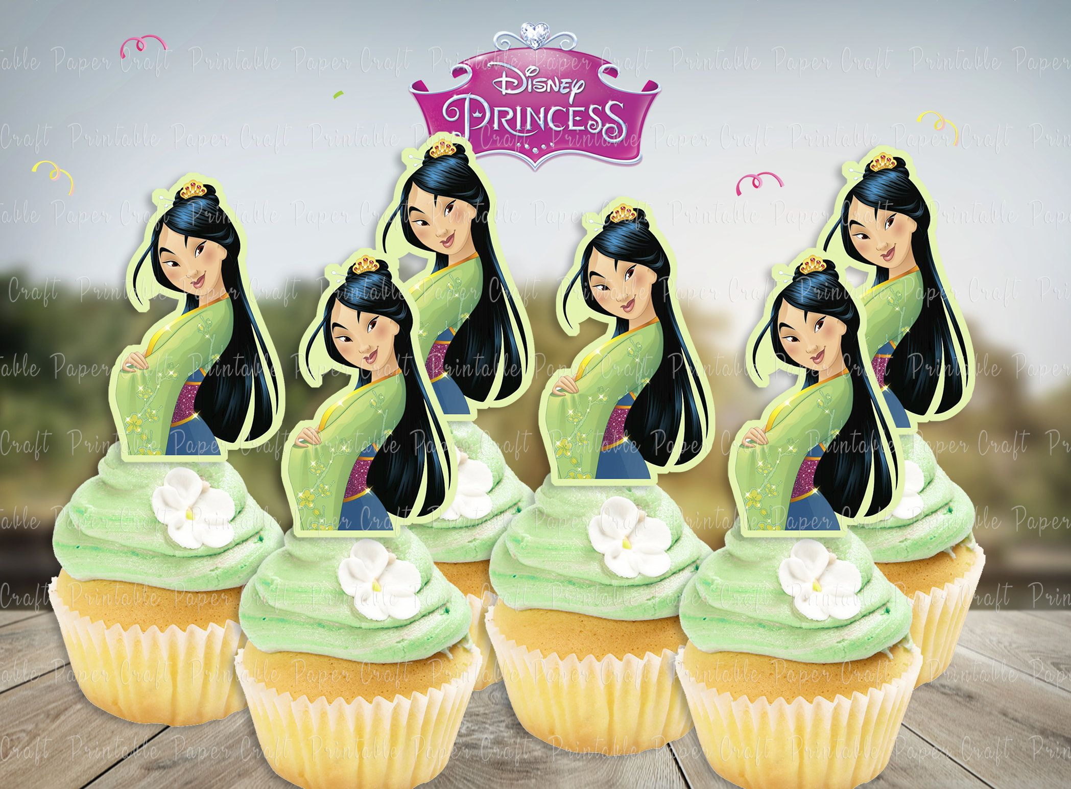 Disney mulan party cupcake toppersprincess cake pop