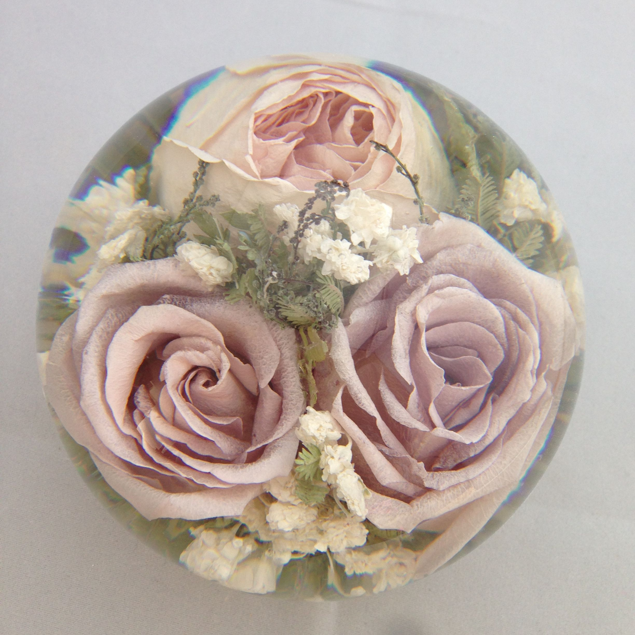 Wedding Flowers In Resin: Captured Forever Within A Lovey Wedding Flower Paperweight
