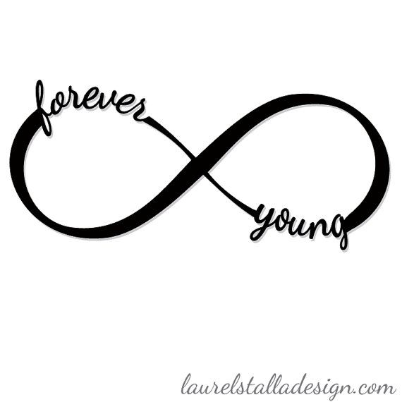 Forever Young Infinity Symbol Laser Cut Wooden Word Cutout Wall Art