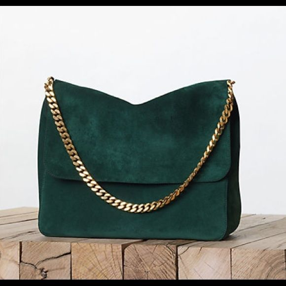 3b0c070d6c1 Pre-owned Celine suede hobo bag with gold chain. In good preowned  condition. Interior is very clean. Hairline scratch on hardware. Celine Bags  Hobos