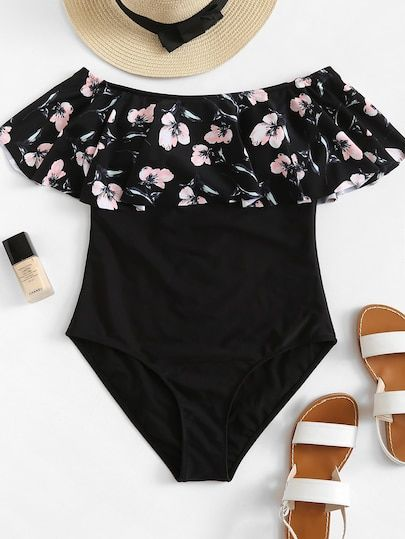 252a606200 Shop Plus Flower Print Flounce One Piece Swimsuit online. SheIn offers Plus  Flower Print Flounce One Piece Swimsuit & more to fit your fashionable  needs.