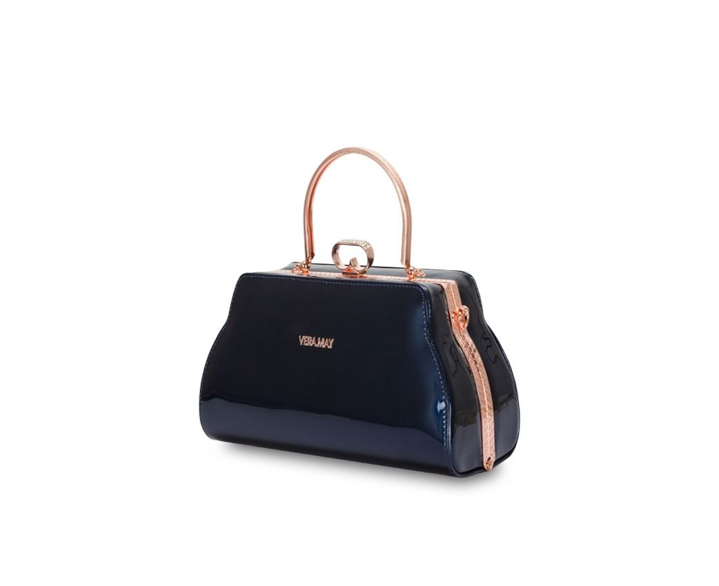 Get Your Vera May Marion Patent Faux Leather Navy Handbag From Catch