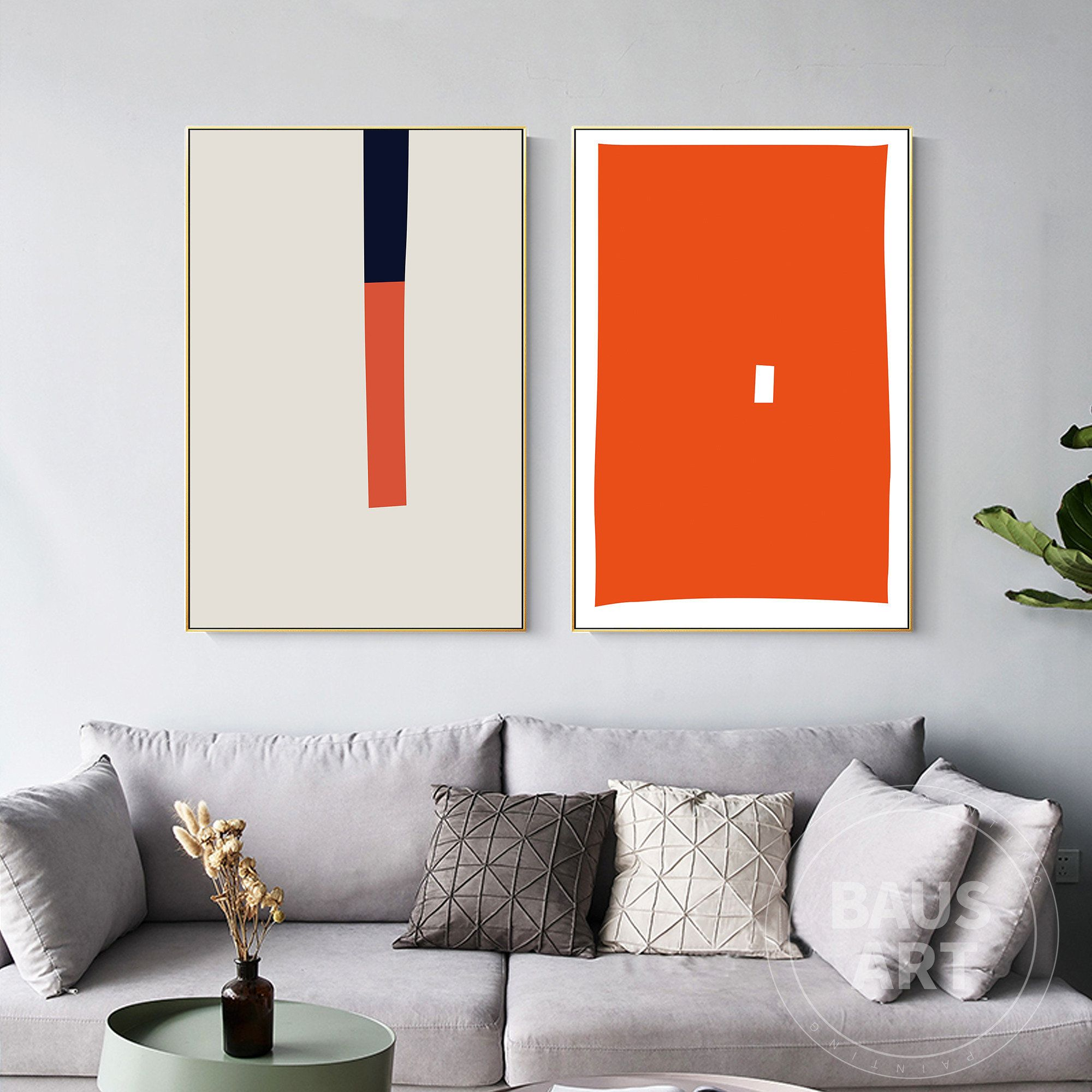 2 Pieces Framed Wall Art Set Of 2 Prints Abstract Geometry Art Etsy In 2021 Framed Wall Art Sets Frames On Wall Framed Wall Art