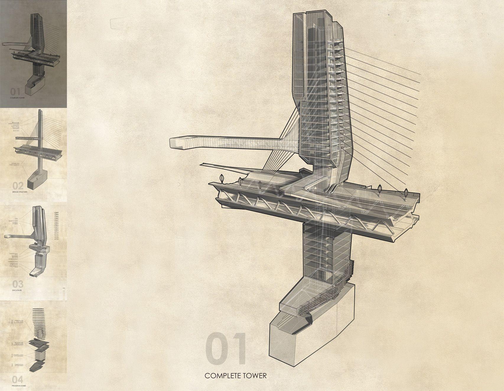 Architectural Drawings Of Bridges bay bridge 2050 - aaron berman architecture | drawing | pinterest