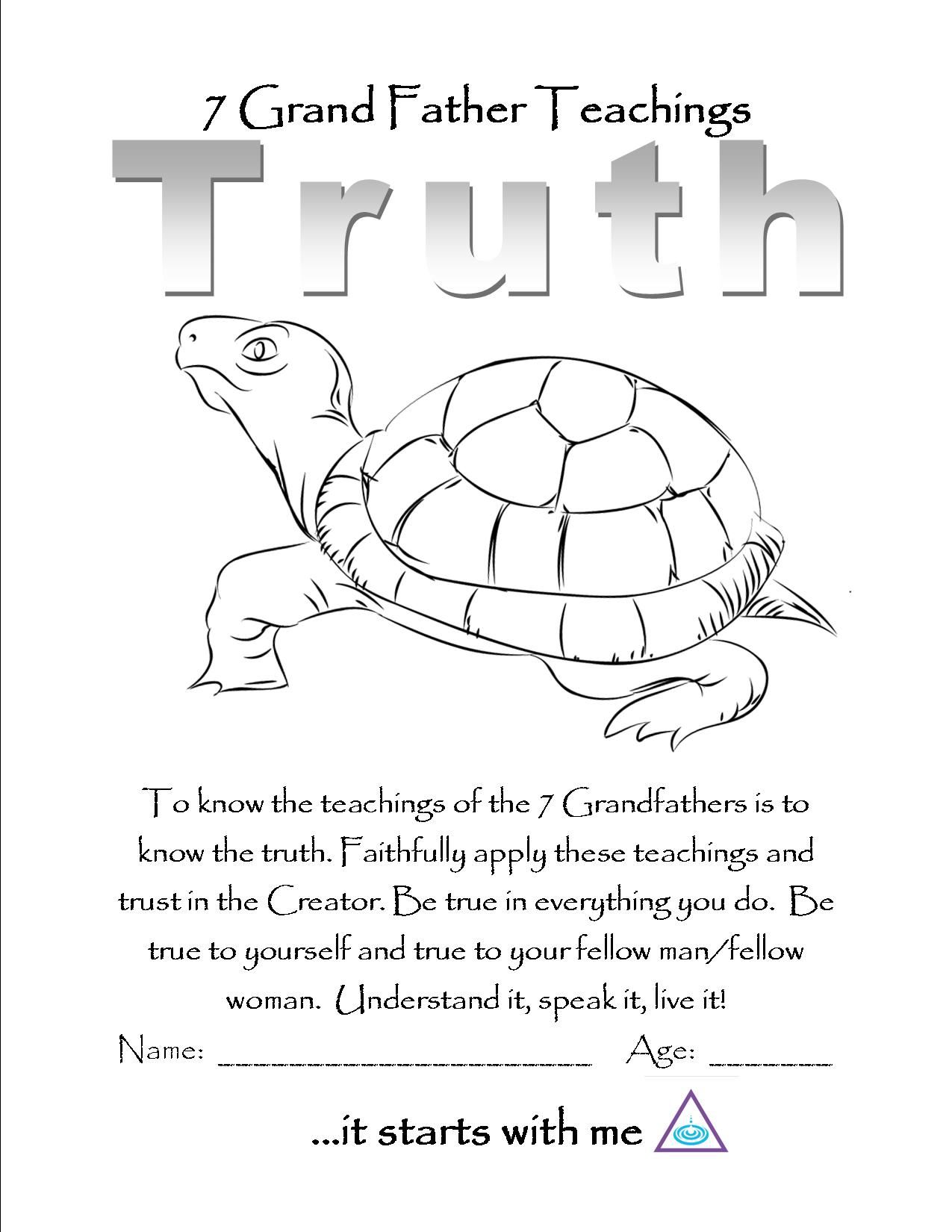 7 teachings coloring pages - Truth Color Page