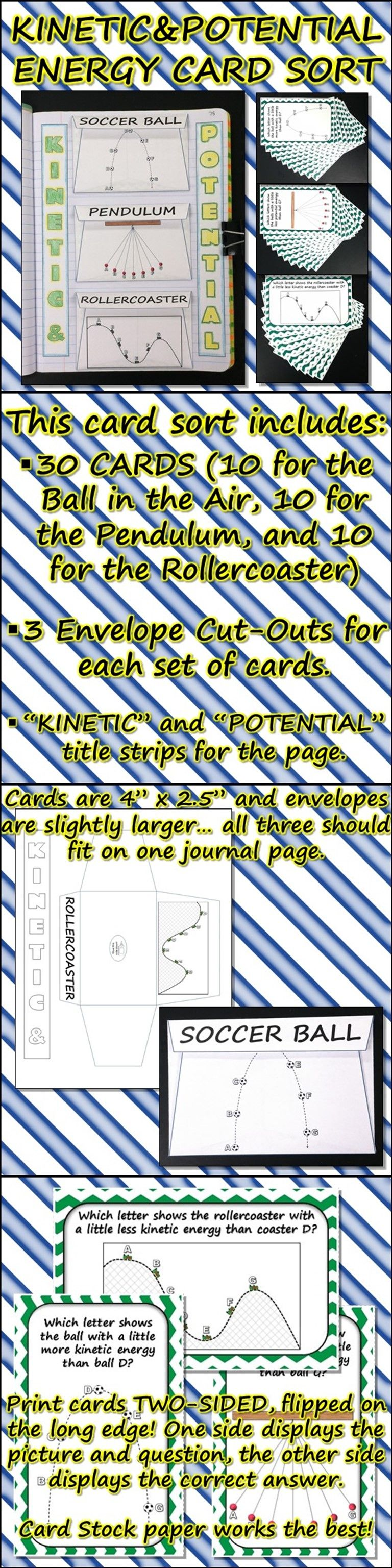 science journal  kinetic and potential energy card sort