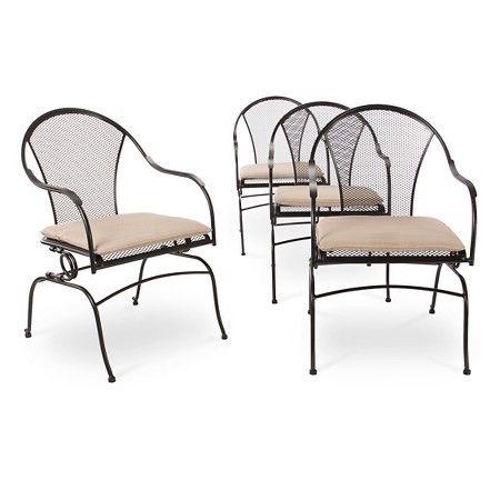 Hamlake 4 Piece Wrought Iron Patio Motion Dining Chair Set