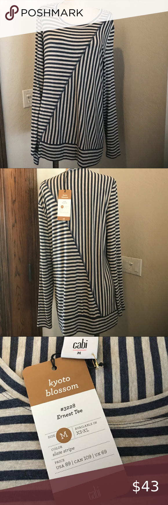 Nwt Cabi Kyoto Blossom Top New Cabi Kyoto Blossom To New With Tags Color Is Slate Stripe Fabric Is Lightweight And The Softest In 2020 Clothes Design Fabric Stripe